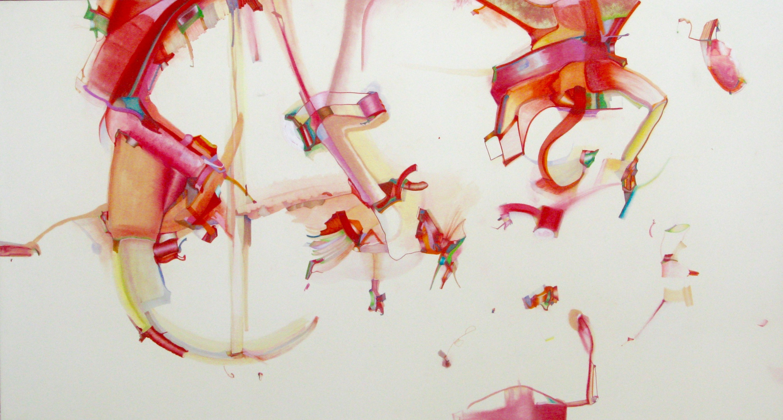 "Oil Stick, Chalk Stick, Watercolor, Ink, Colored Pencils on Paper on Linen on Canvas - 60"" x 33"" inches"