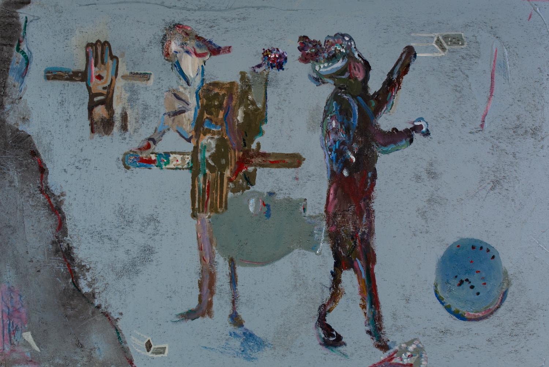 Los Musicos   Acrylic pigments on Canvas  48 x 32 Inches  2019