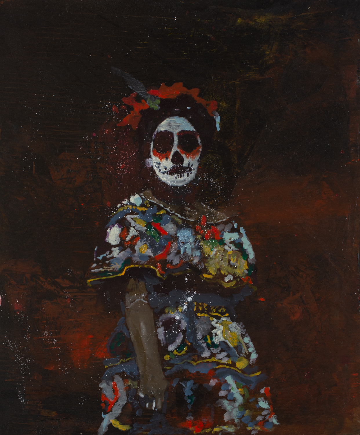 La Catrina   Acrylic pigments on Panel  20 x 24 Inches  2019