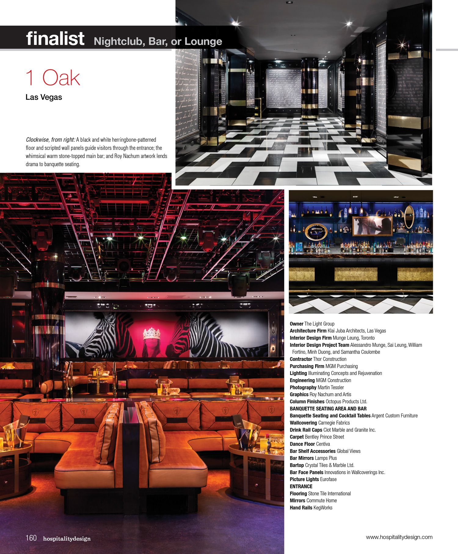Hospitality Design Awards 2012 Finalist  Nightclub, Bar, or Lounge