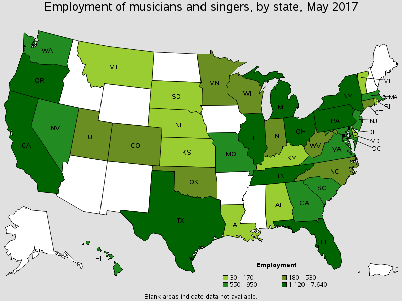 US employment of musicians / singers by state.  Dark greens  states likely to have most music producers.