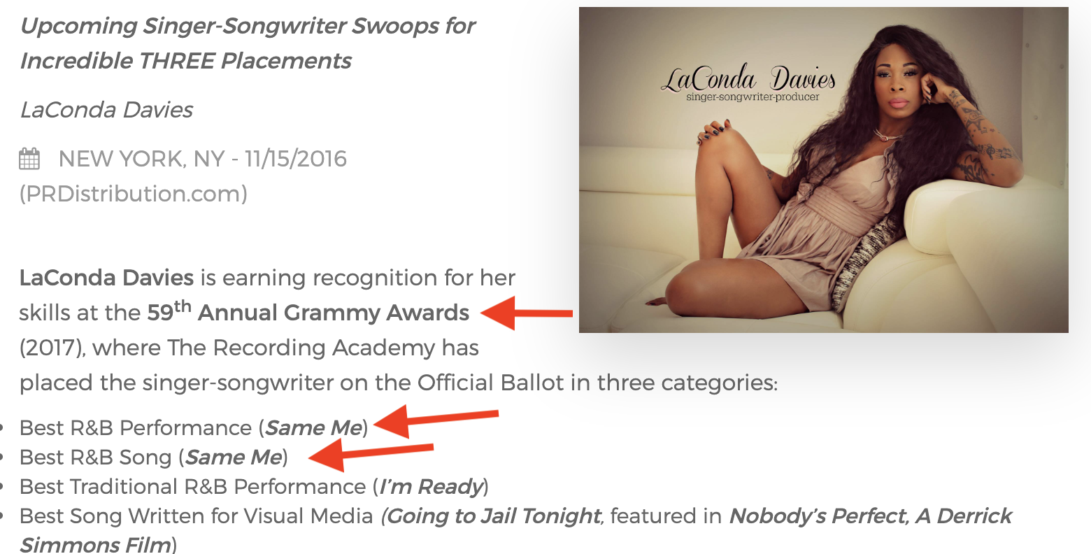 MY 2 GRAMMY NOMINATIONS WITH ARTIST - LACONDA DAVIES