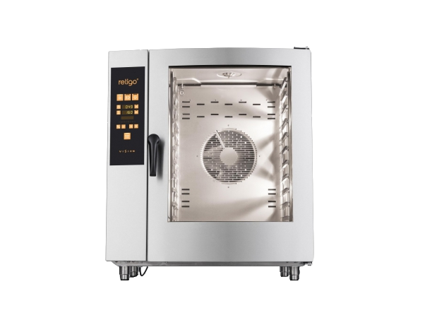 RETIGO Orange - One of Retigo Vision's best-selling sizes of combi oven. The size of 1011 is ideal for operations with a capacity of 151-250 meals a day. The gastronorm container size is GN 1/1 (530x325 mm). Wide-ranging accessories can be purchased to go with the 1011 size - – various types of stainless steel stands, the Vision Vent hood, etc. Model 1011 can be built into a set with another combi oven. The steam generation system is injection or boiler-based. The heat source is electricity or gas.