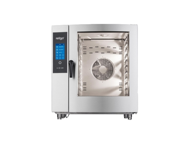 RETIGO Blue - One of Retigo Vision's best-selling sizes of combi oven. The size of 1011 is ideal for operations with a capacity of 151-250 meals a day. The gastronorm container size is GN 1/1 (530x325 mm). Wide-ranging accessories can be purchased to go with the 1011 size - various types of stainless steel stands, the Vision Vent hood, etc. Model 1011 can be built into a set with 611 combi oven. The steam generation system is injection or boiler-based. The heat source is electricity or gas.