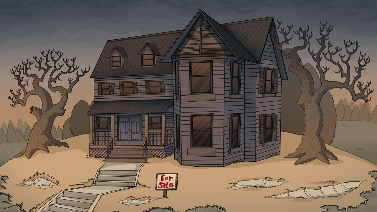 "Creepy House from the animated short, ""Slash 'Em"" by Mondo Media"