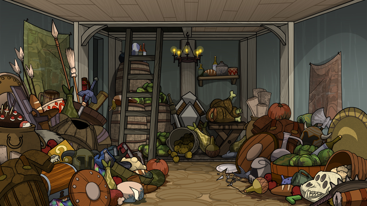 """Skyrim style hoarder cabin interior from the animated short, """"Video Game Therapist"""" by Mondo Media"""