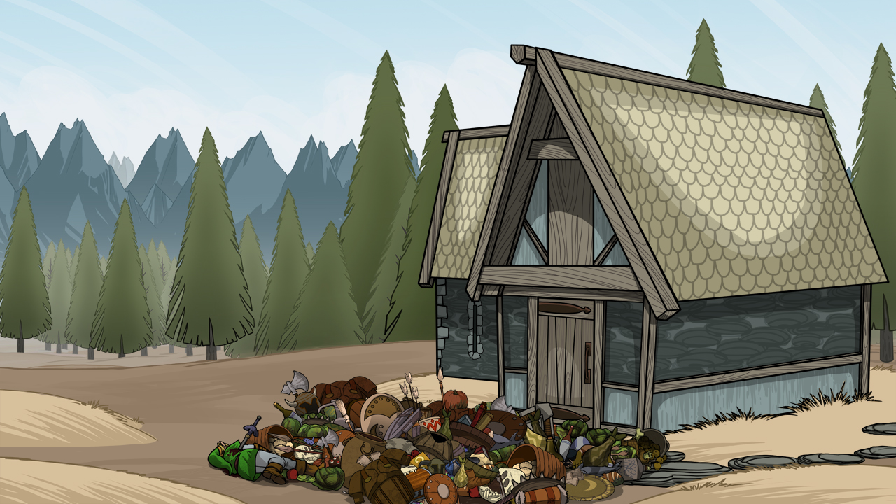 """Skyrim style hoarder cabin exterior from the animated short, """"Video Game Therapist"""" by Mondo Media"""