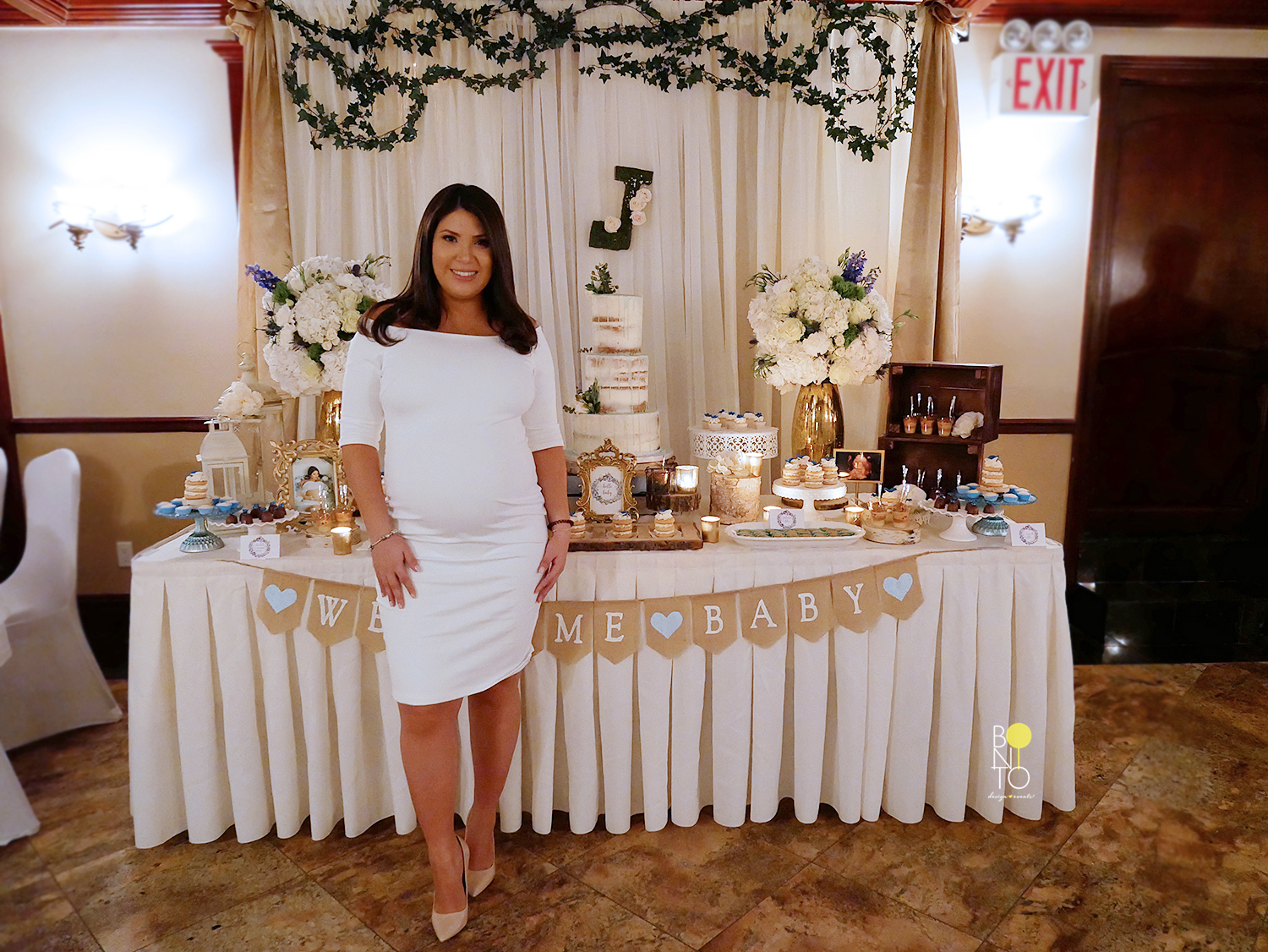 A  Rustic Garden Baby  Shower to Welcome Baby Justin! Loved the romantic feel and style my client requested specially for a Baby Boy Shower. Yes, It's a Boy Shower with Elegance.  This lovely Mommy-to-be, currently Mommy, had this baby shower themed all envisioned. To make her vision come to life we worked with  Diva Blooms  who just rocked it with gorgeous Flower Arrangements, Welcome sign and backdrop draping with greenery. The breathless naked cake from  Magdeline's Cake  and delicate desserts from  Juliana Sugar Shop  gave the dessert table such amazing touches. We added candles everywhere to create the perfect mood.   To stick to the Rustic Style we used burlap, tree slices, birch slaps, wood, twine, crates, lanterns and greenery for our main decor. The final product was a room that radiating beauty.