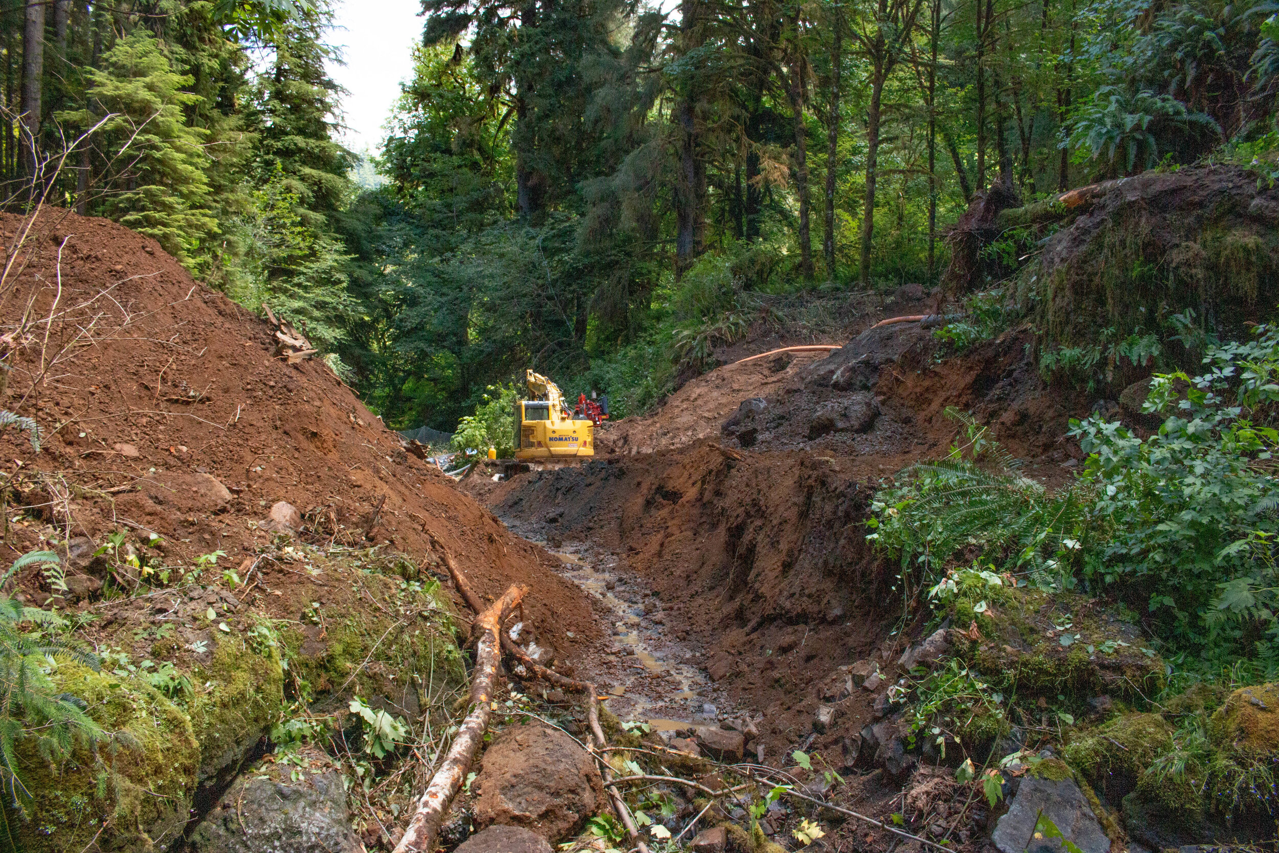 Directly after the old culvert was removed.