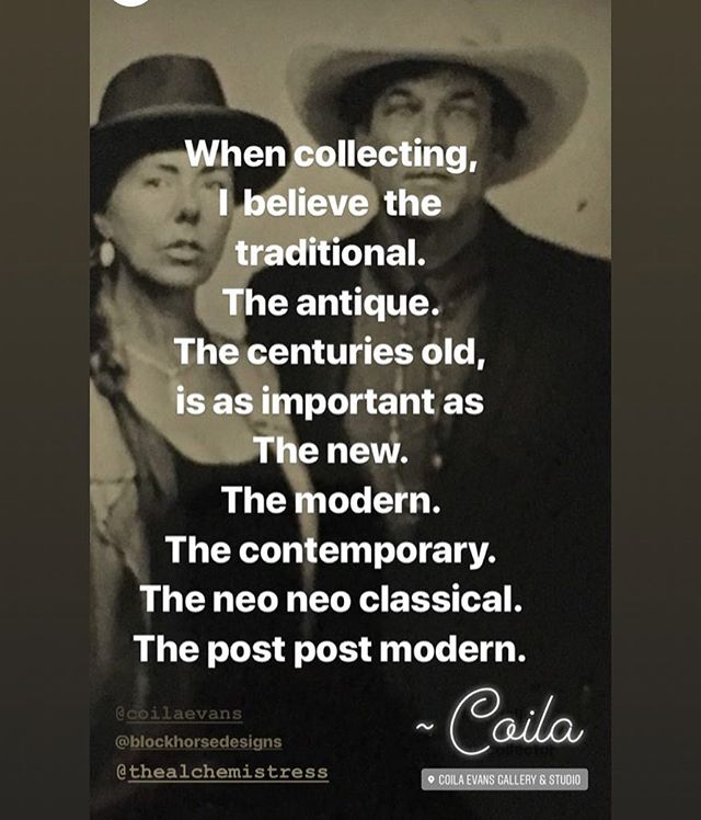 When collecting, I believe the traditional, the antique, the centuries old, is as important as the new, the modern, the contemporary, the neo neo classical, the post post modern. ~ Coila . . . #coilaevansgallery #coilaevans #coilaevansartgallery #artist #artgallery #artcollector #westernartcollector #westernartscene #artscene #montanaartist #quoteoftheday #portrait #photooftheday #blackandwhite #antique #ambrotype #photoshoot #artists #creativeuprising #fashion #westernfashion #neoclassical #postmodern #antique #contemporaryartist #historical #historicpreservation #artistportrait #portraits #portraiture