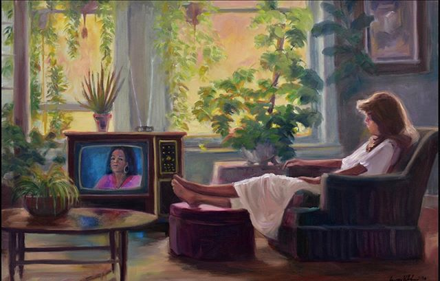 """CHERYL"" 24"" x 36""  oil on canvas  framed . ""I had a dream about an angel in a silver car, then Cheryl entered my life in her silver Firebird. We lived for a while in the old light-filled penthouse apartment/ studio on Marion Street in Denver. The light loved the plants and the paintings and Cheryl."" . #gregorywilhelmi #coilaevansgallery #coilaevansartgallery #fineart #oilpainting #westernart #oiloncanvas #realism #representaionalart #contemporaryart #artcollector #montana #montanamoment #roundupmontana #billingsmontana  #figurepainting #figuredrawing #figurativeart #fineartcollector  #kunst #kunstwerk @boldbrush #artgallery #poetry #angel #contemporaryart #contemporaryartcollector #interiorpainting #loveofmylife #myangel @oprah #oprahwinfrey"