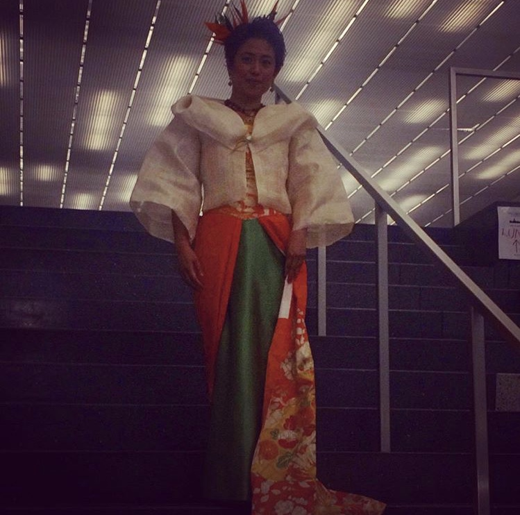 Banana Jacket - This is me wearing Filipino Hawaiian designer, Iris Viacrusis, in a modern Maria Clara made with banana leaf over a recycled vintage silk Kimono.