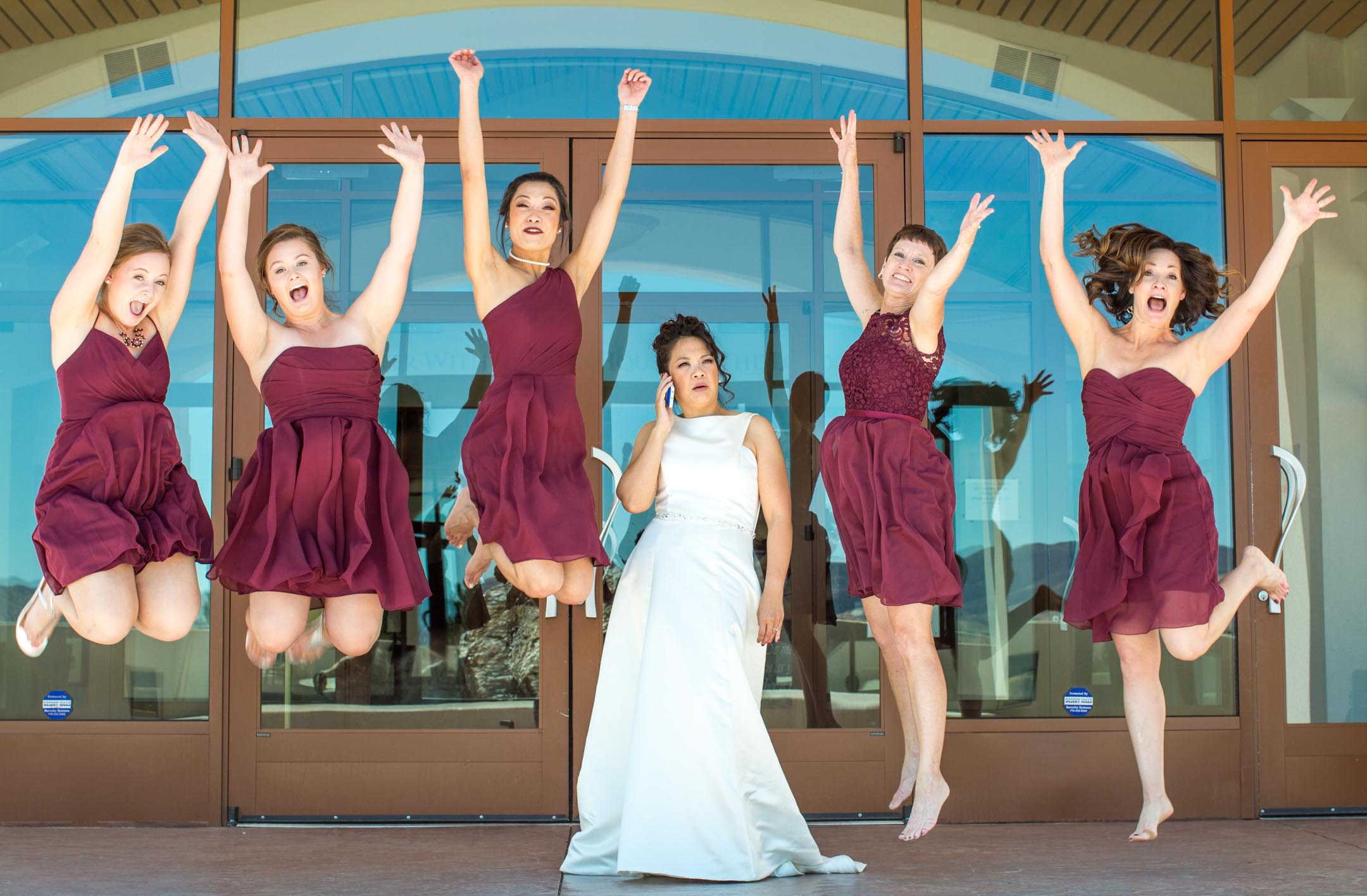 photo of bride and bridesmaids in lake tahoe