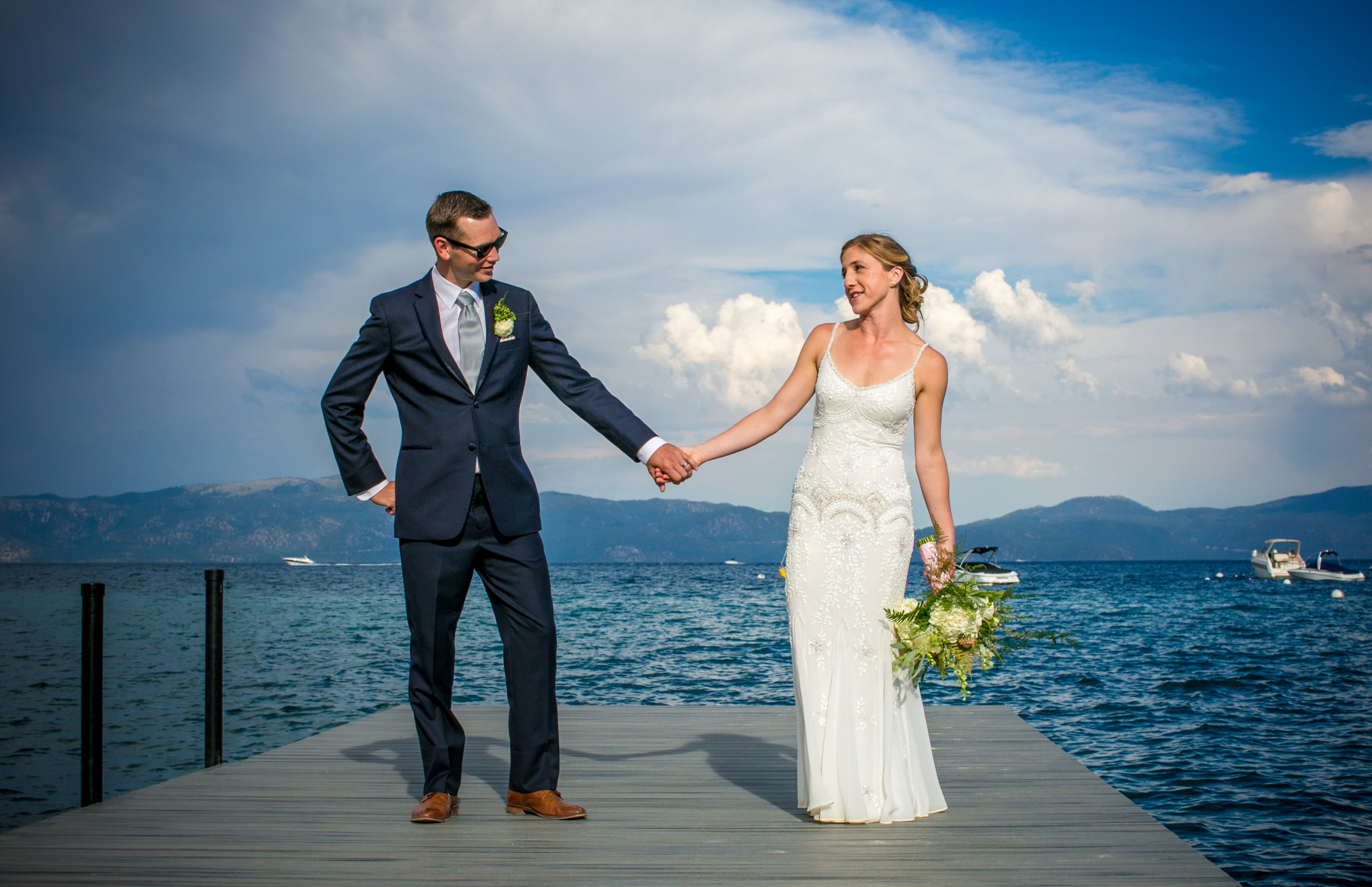photo of lakefront lake tahoe wedding