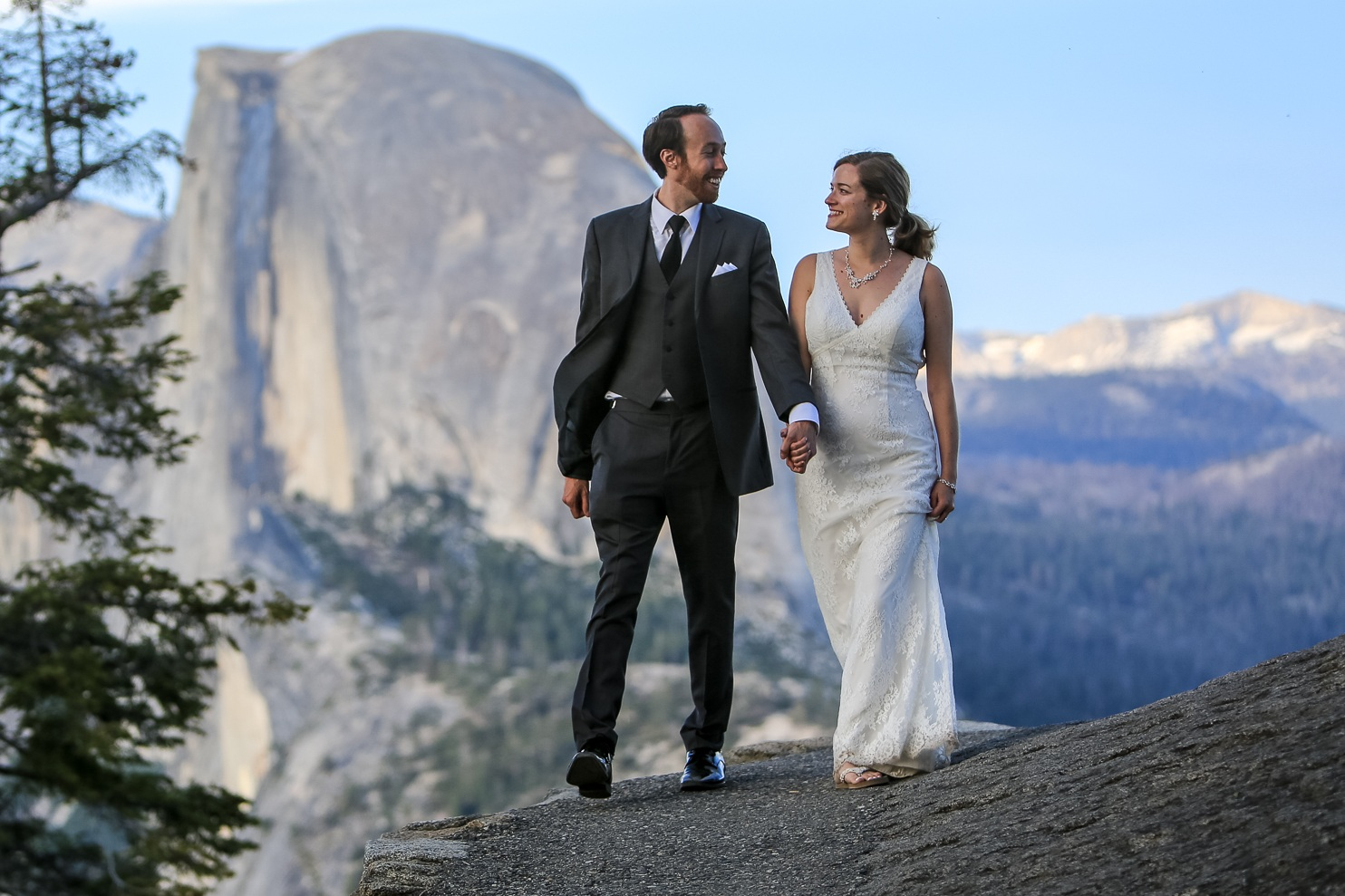 Photo of John and Kaitlyn taken during their photoshoot after their outdoor wedding in yosemite valley