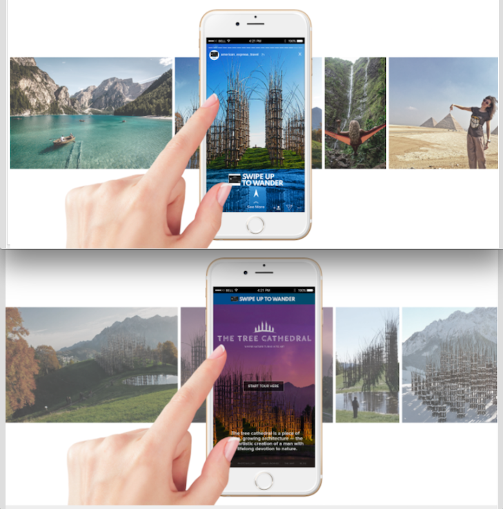 Swipe To Wonder - INSTAGRAM STORIESMillennials love to swipe. They also love to travel. So we thought, how do we best combine those two things? So we showcased Chase Marriott Travel Destinations by giving consumers an endless supply of vacation picture and video snippets to swipe through. We're talking quick, intimate Instagram stories at the most amazing, unusual, off-the beaten path locations.Think tapping through Instagram or Snapchat stories. It's like combining that with Bumble or Tinder.See something you like? Swipe up for in-depth info including how a Chase Marriott card can get you their quicker.