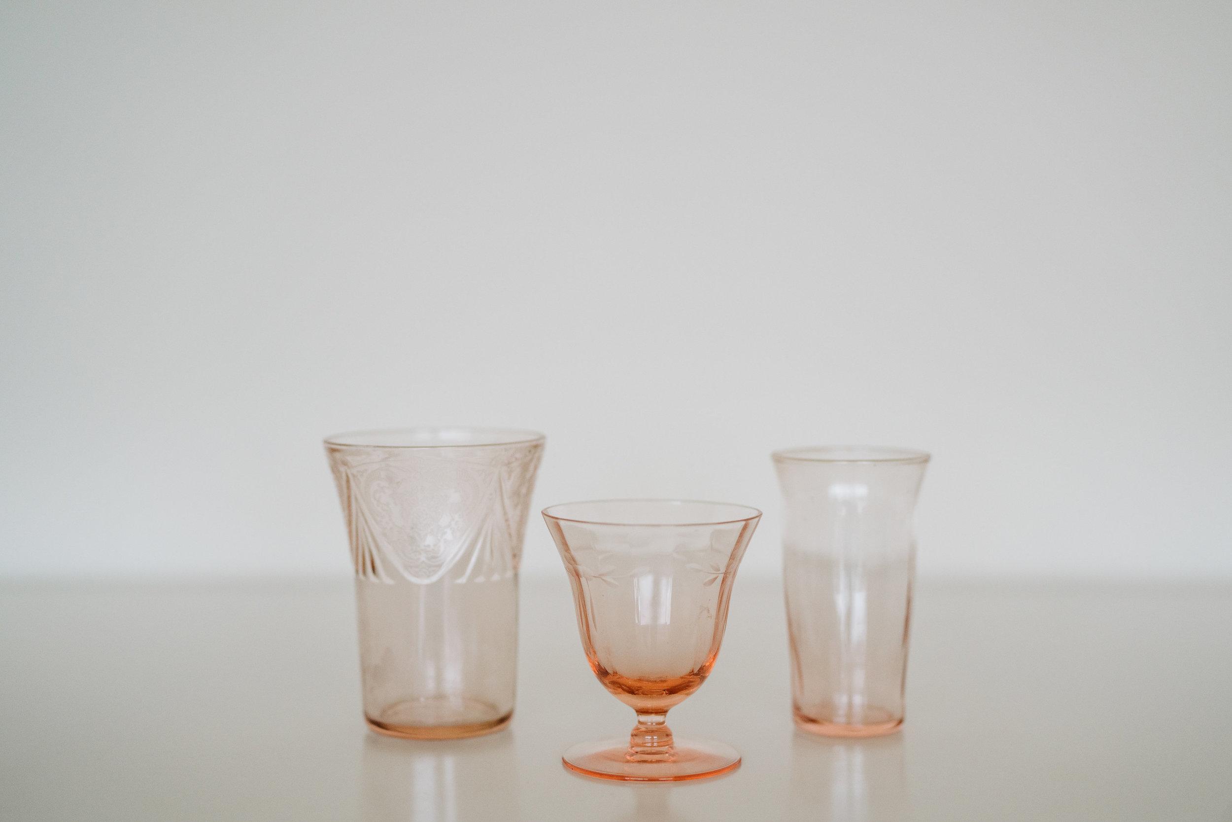 DEPRESSION GLASS VOTIVE HOLDERS