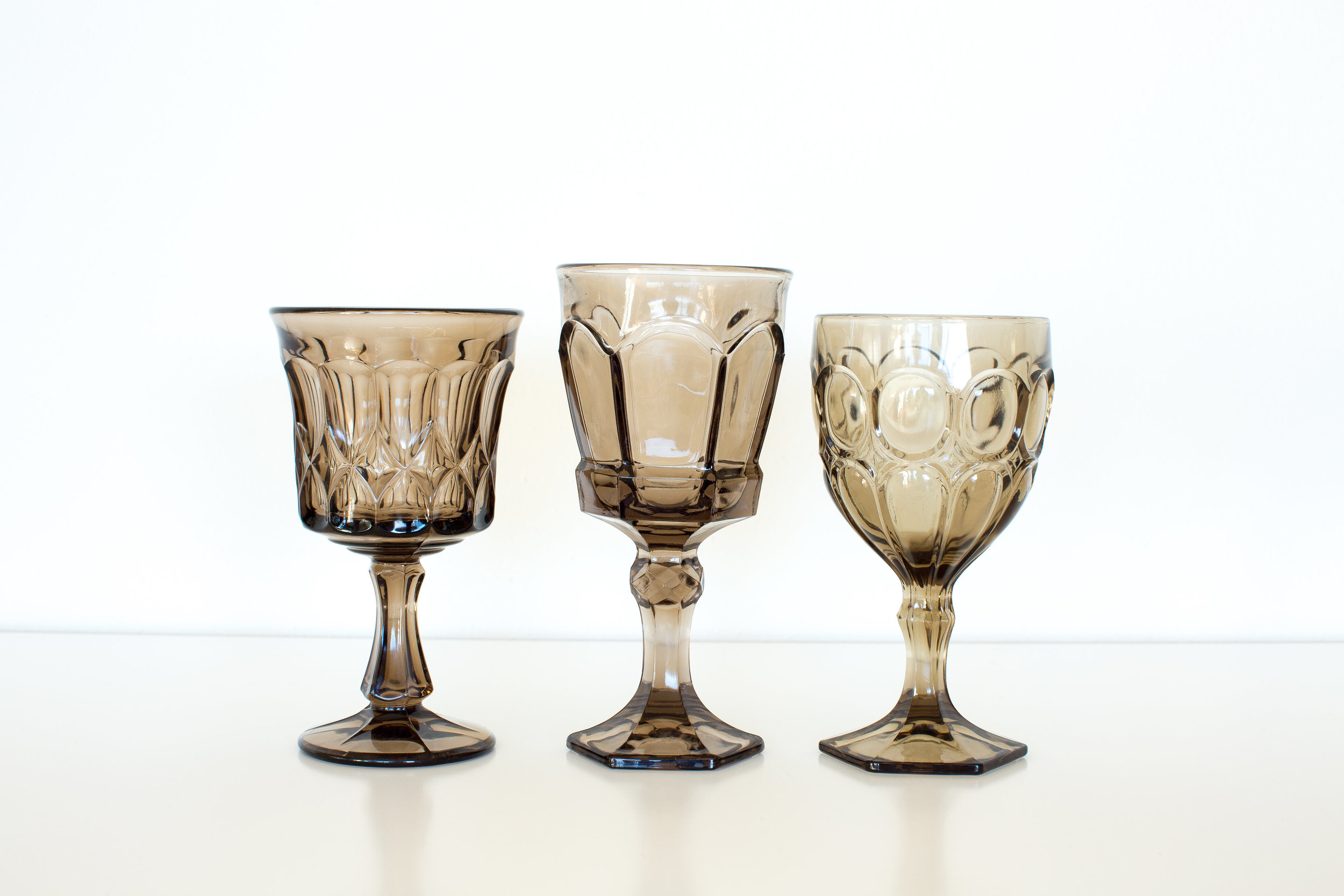 ASSORTED GRAY GOBLETS