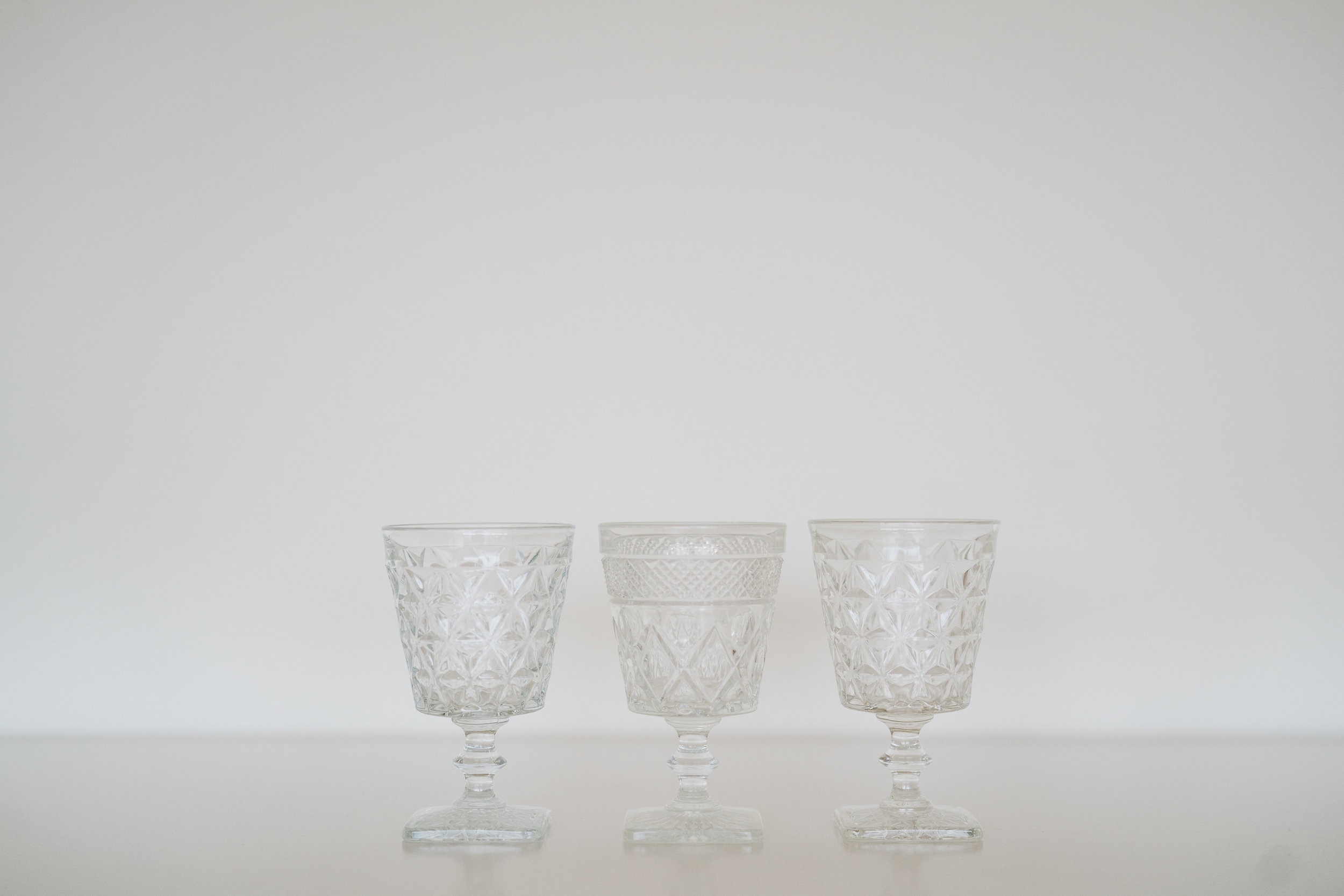 ASSORTED CLEAR GOBLETS