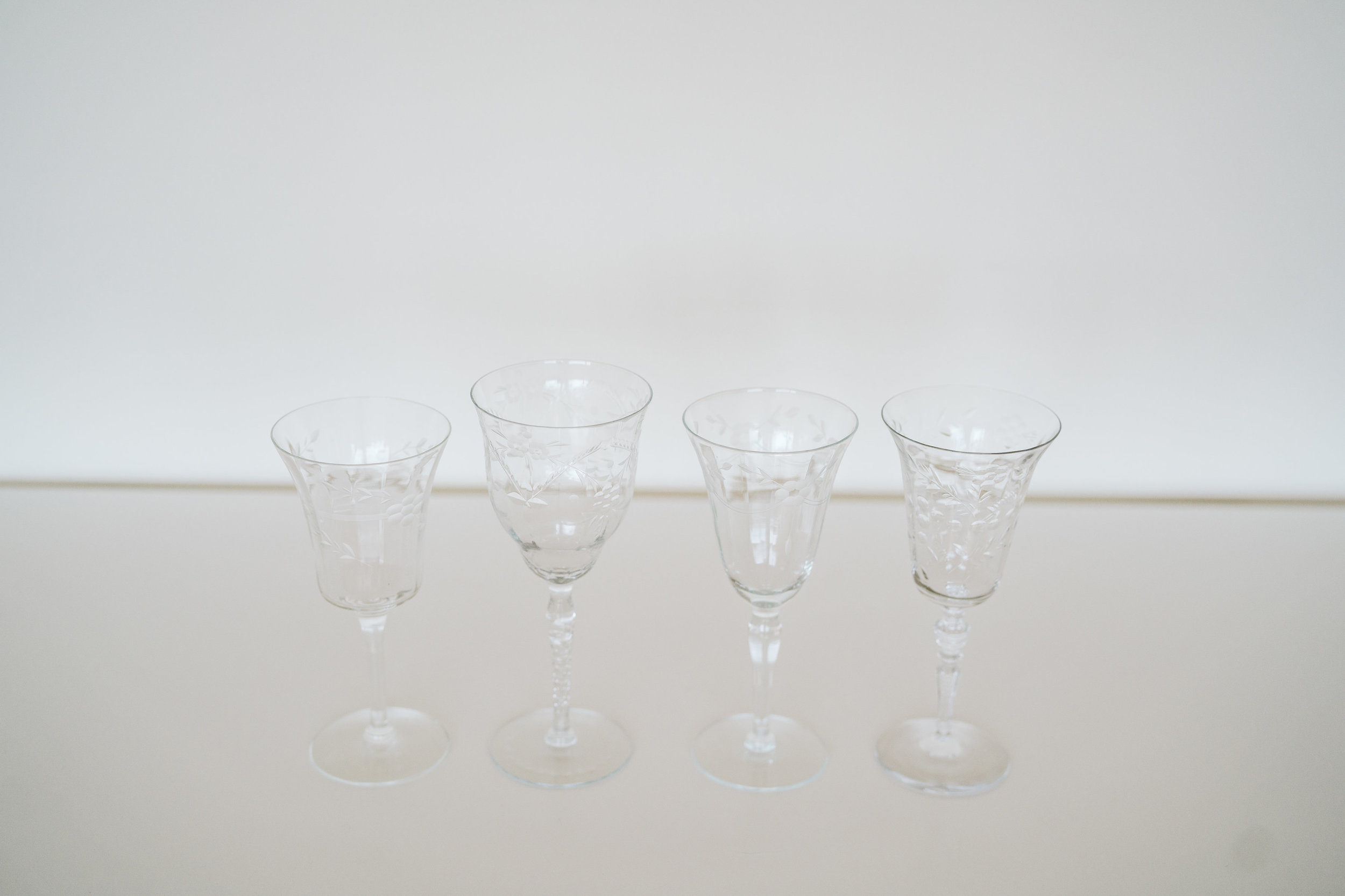 ETCHED CRYSTAL WINE GLASSES