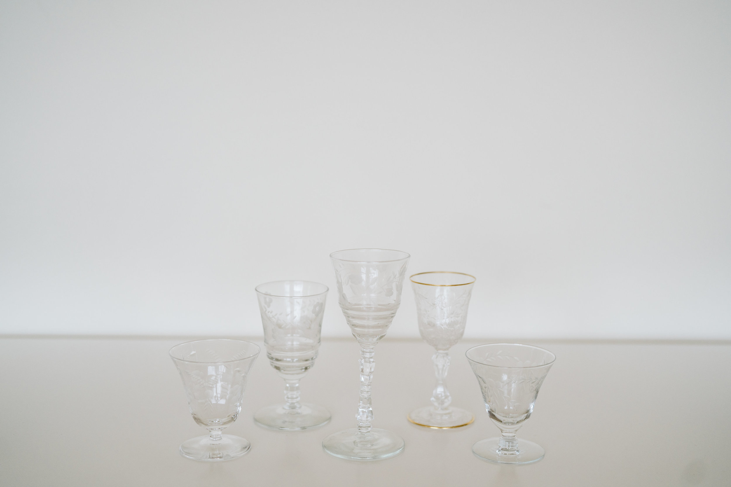 ASSORTED CORDIAL GLASSES