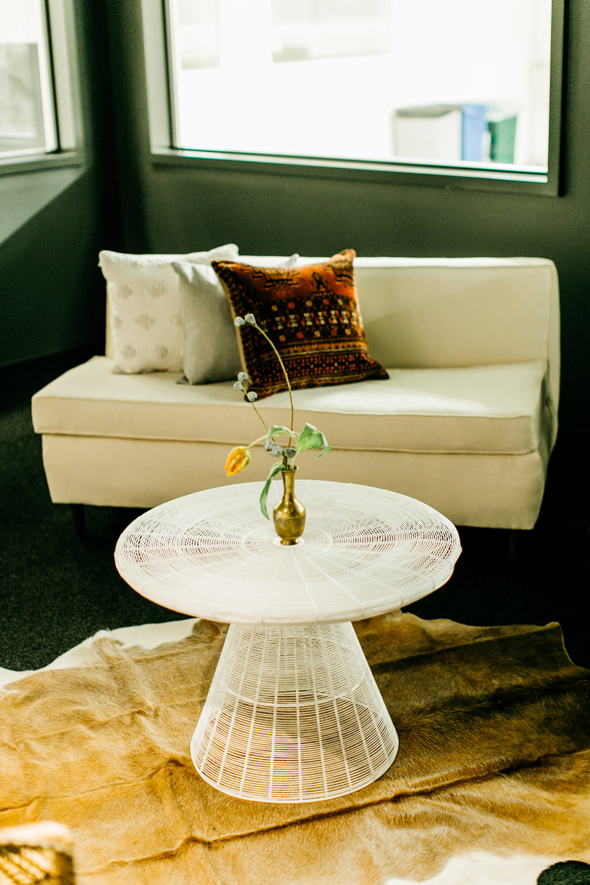 White Wire Coffee Table & Mid Century Love Seat.jpg