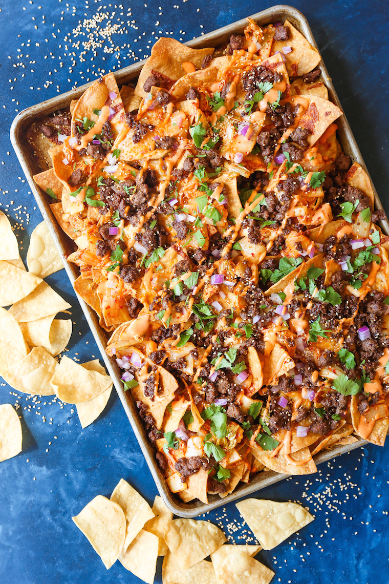 Photo and Recipe by  https://damndelicious.net/2018/09/23/korean-beef-nachos/