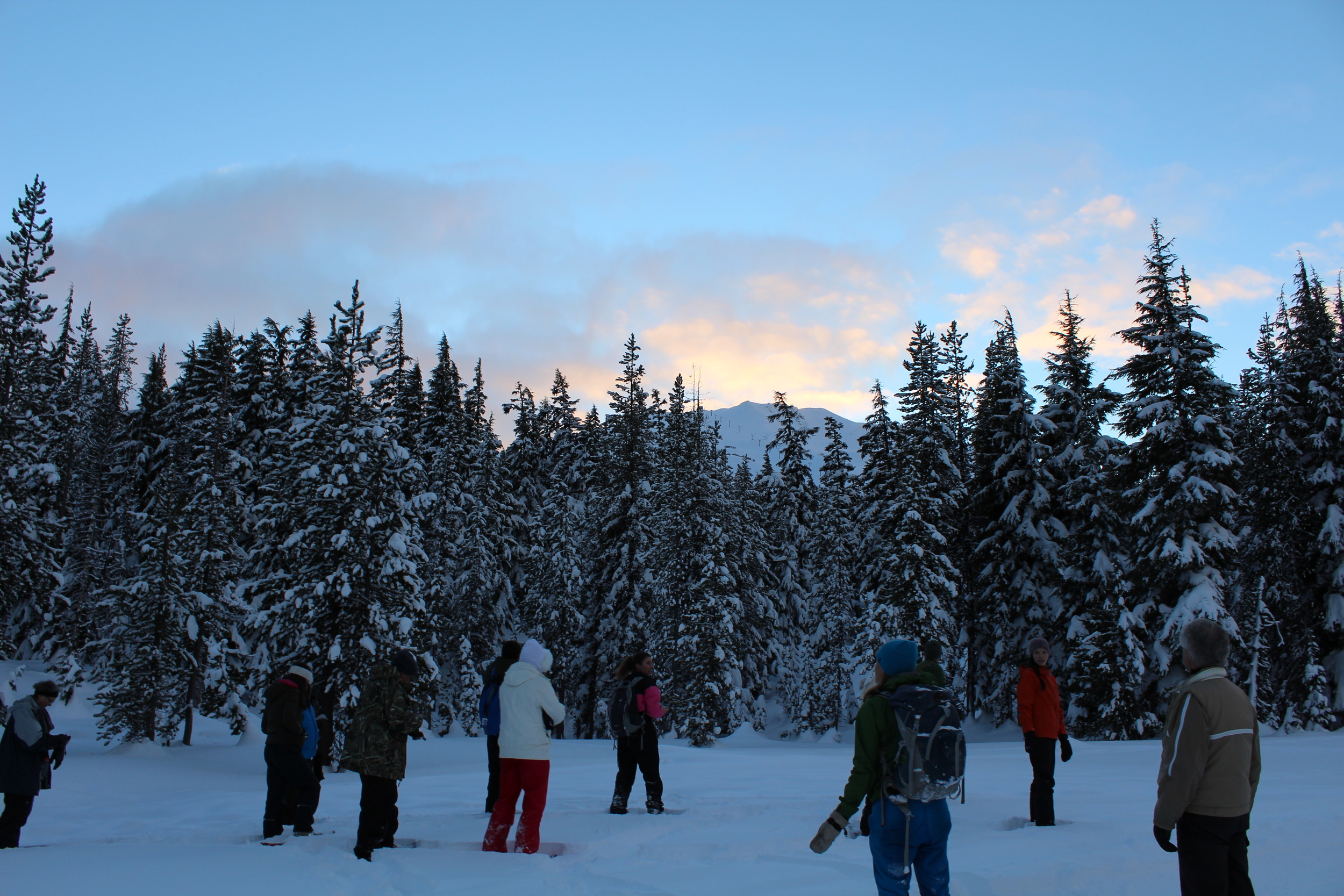 Everyone paused to take in the quiet of the forest and the beauty of the sunset at Mt. Bachelor.