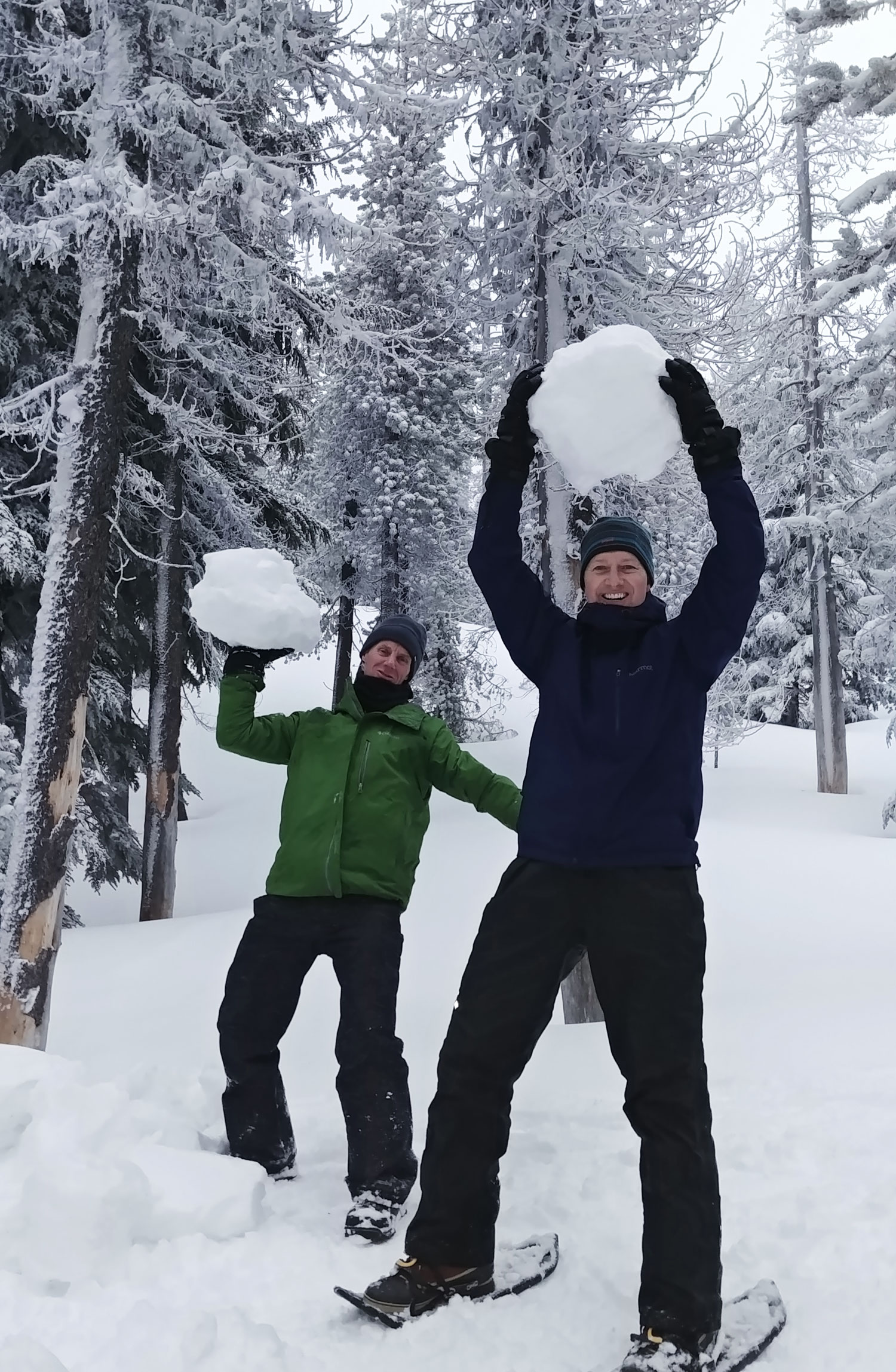 Making snowmen? Or the start of a giant snowball fight? I guess we'll never know.