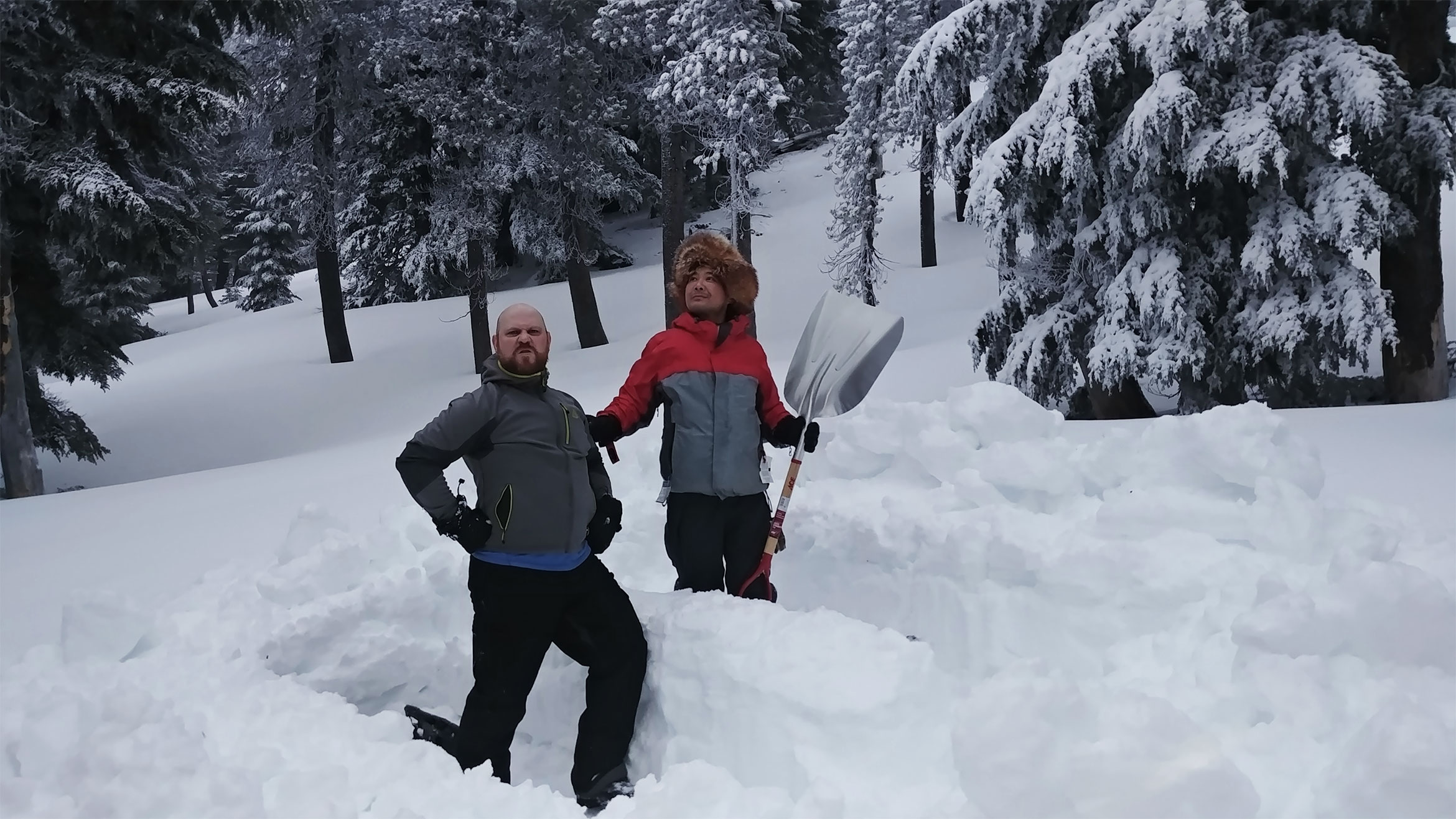 Digging snow trenches on Tumalo Mountain.
