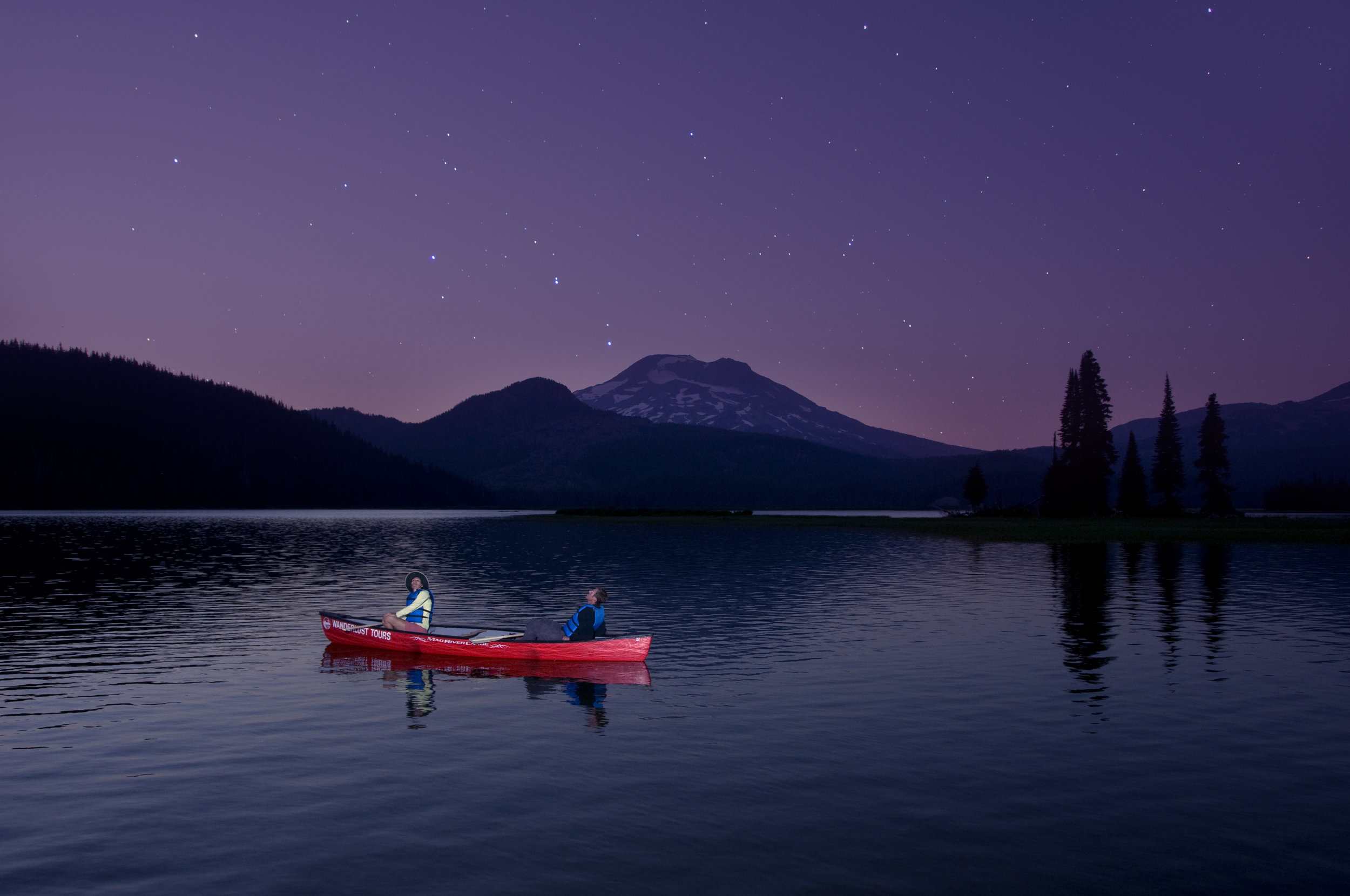 Starlight canoe tours Bend, Oregon