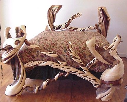 A bed frame made by  Juniper Guy , from Mitchell, OR.