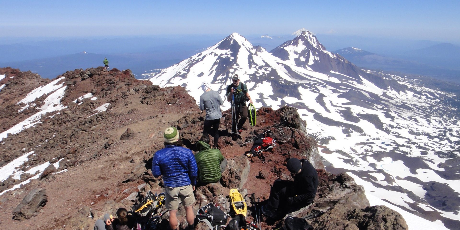 Hikers on the Summit of South Sister