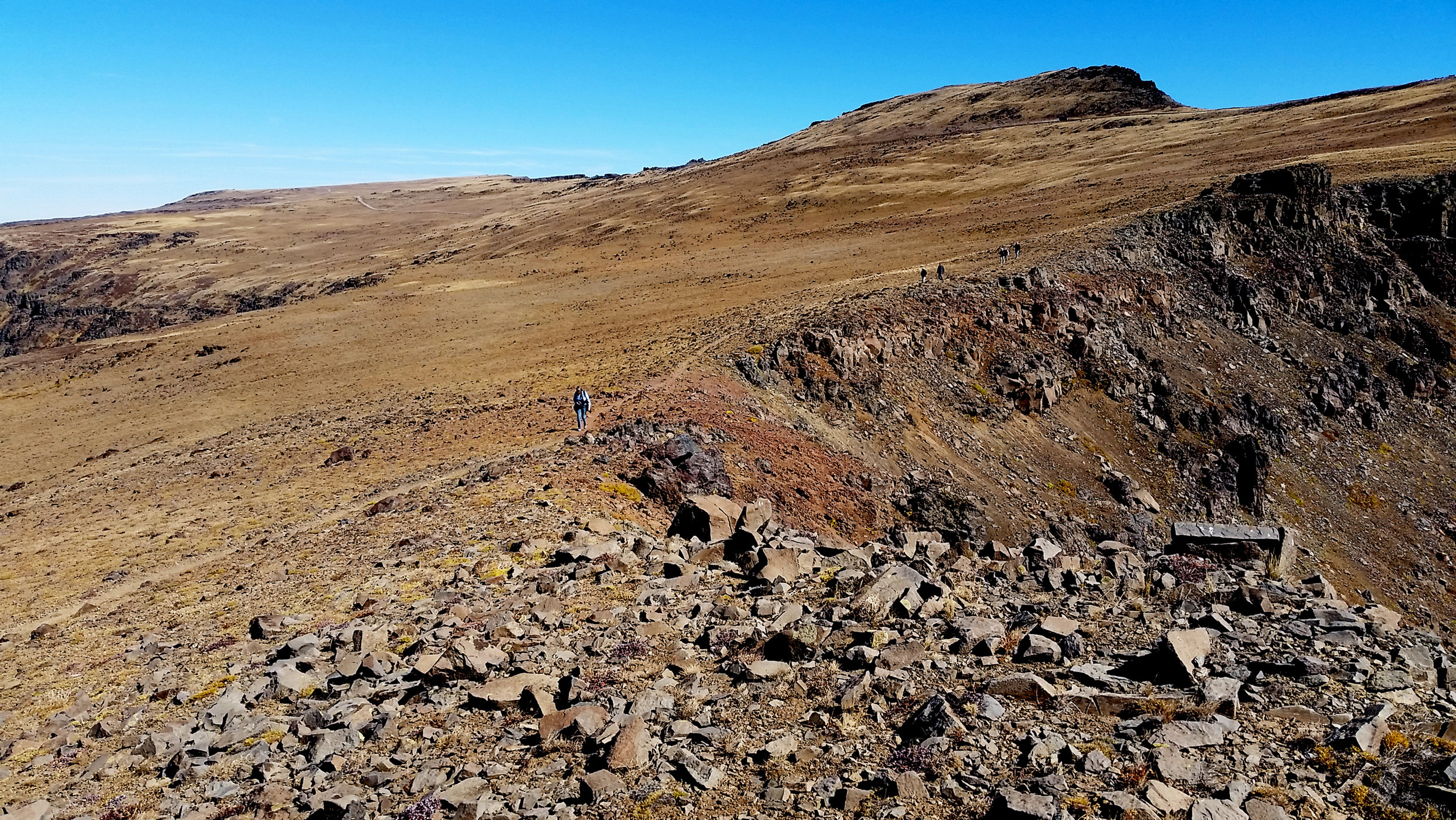 The group hiking along a portion of Steens Mountain