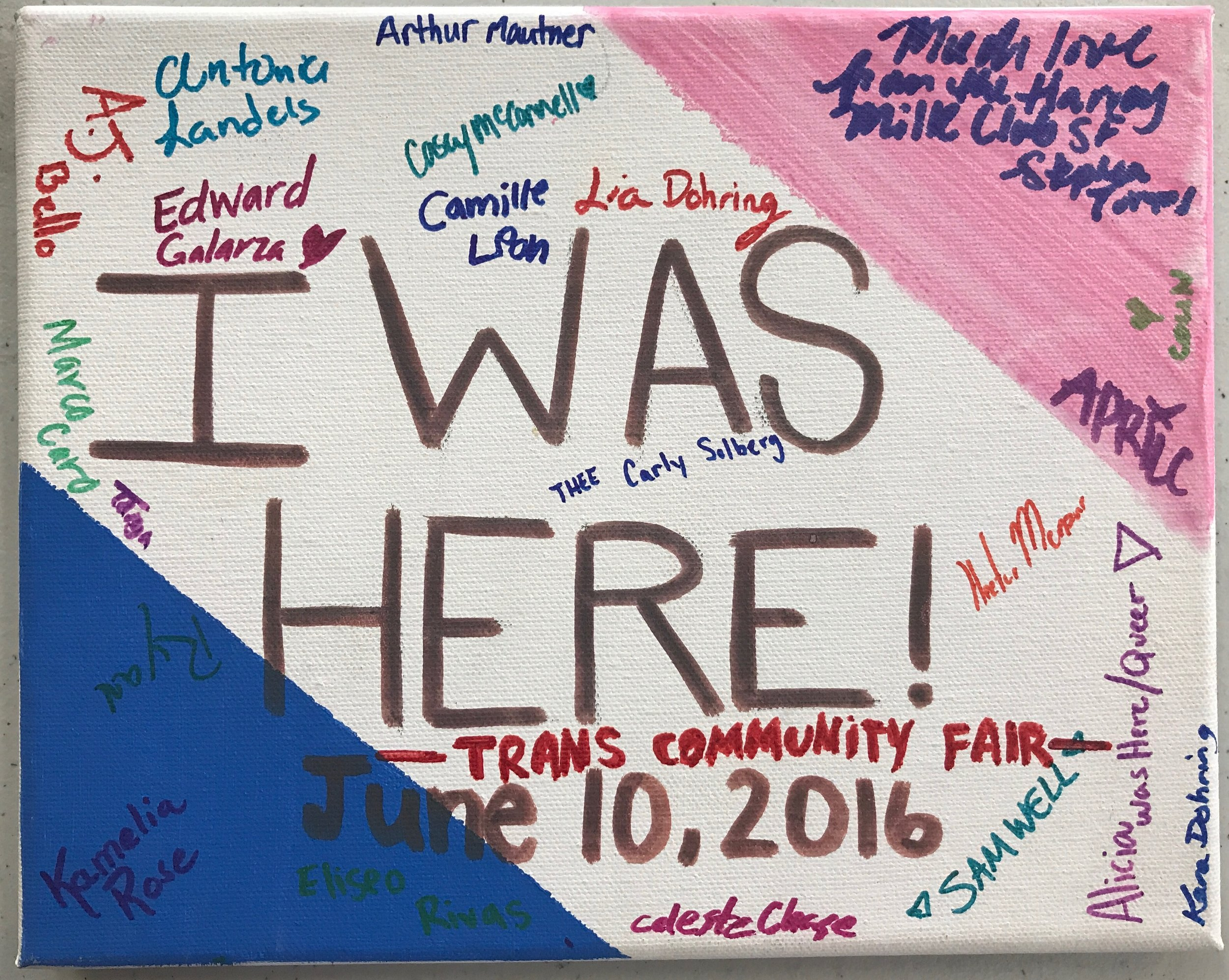 In 2016, with your financial support & volunteering, our youth leaders planned Napa County's 1st ever Trans Community Fair, which drew attendees from Napa, Sonoma, and Solano counties! This canvas includes the names of some of the folks who attended the innagural event.