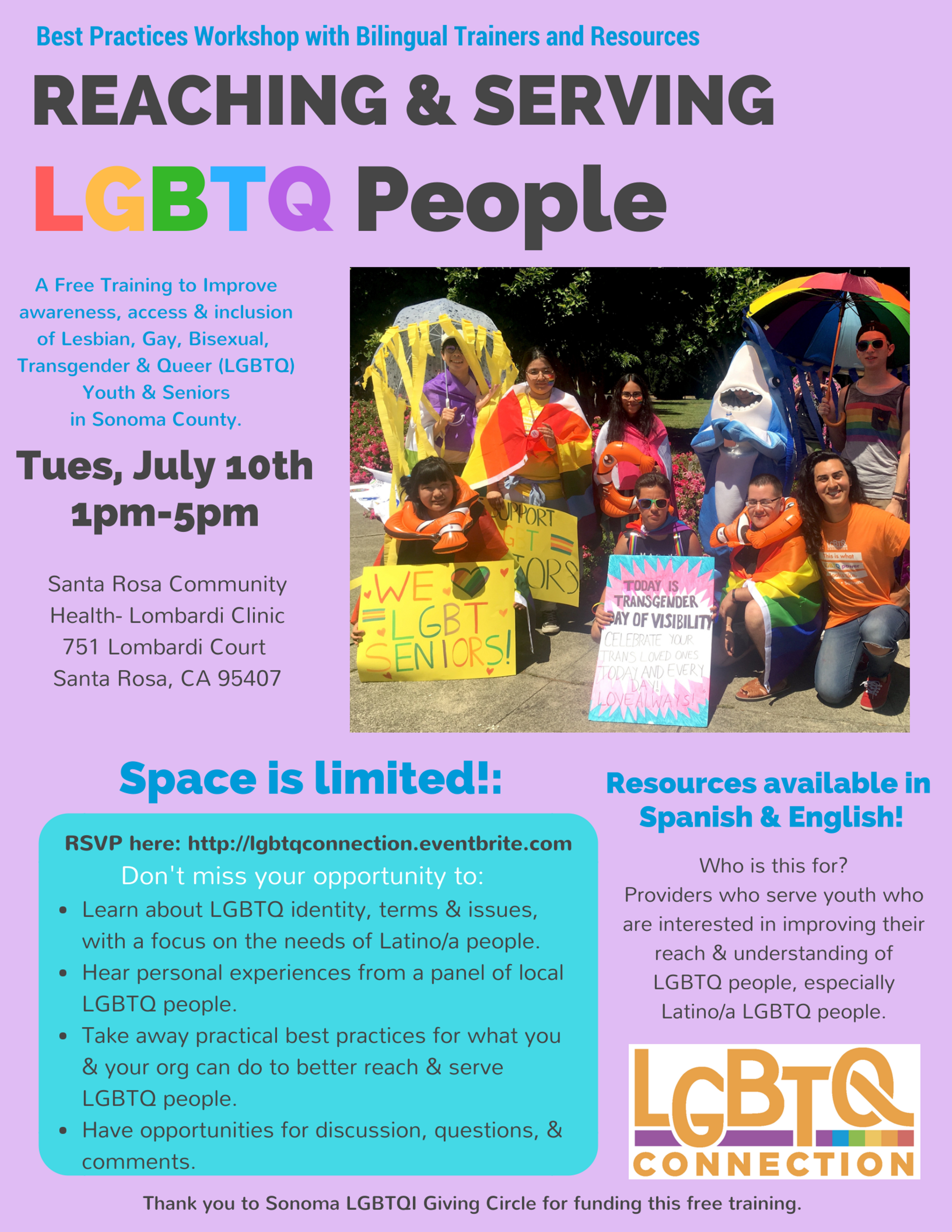 July 10 2018 LGBTQ Best Practices Workshop Flyer for Sonoma County Community.png