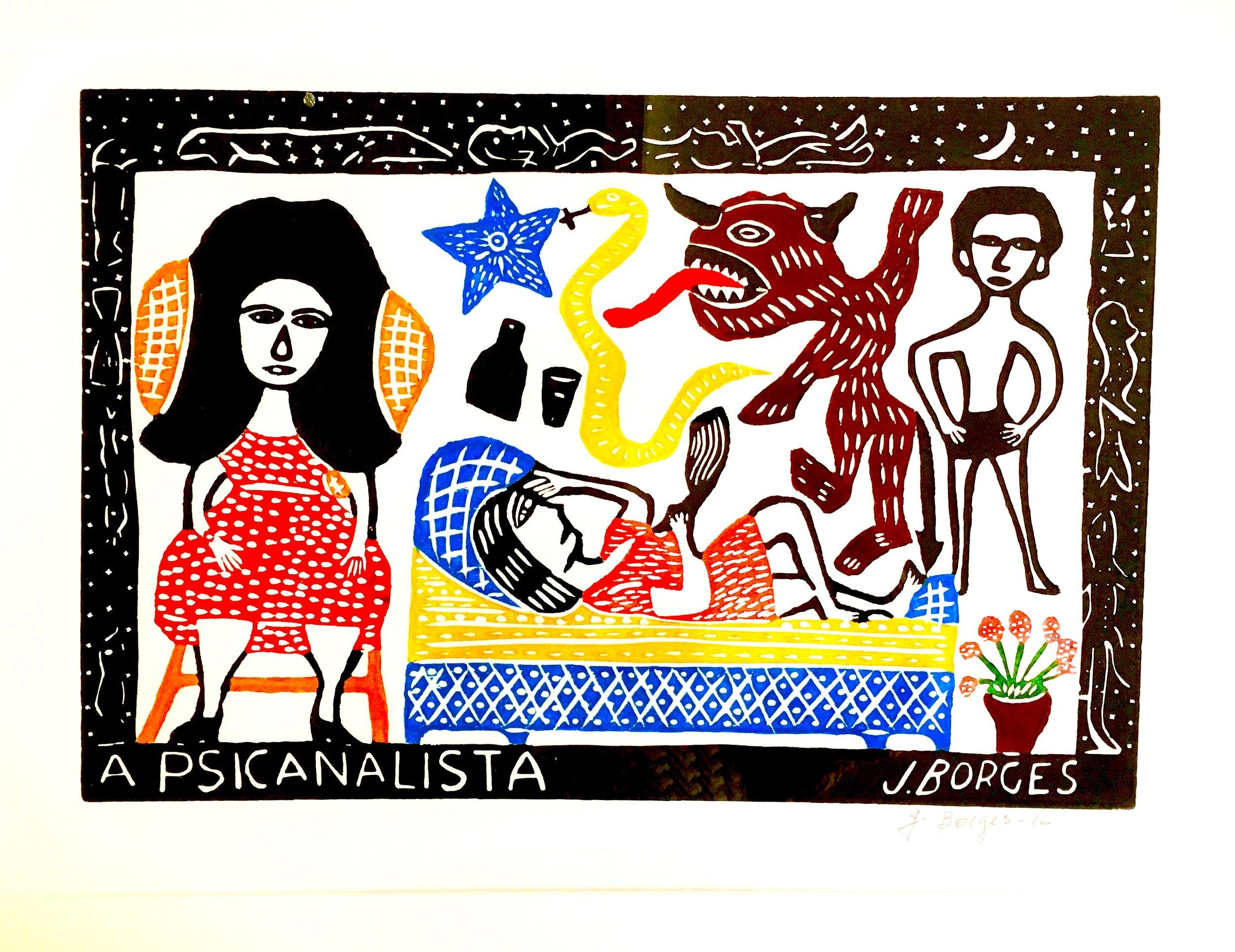 A Psicanalista, woodcut print, paper, framed, J.Borges, Pernambuco, $ 450.00