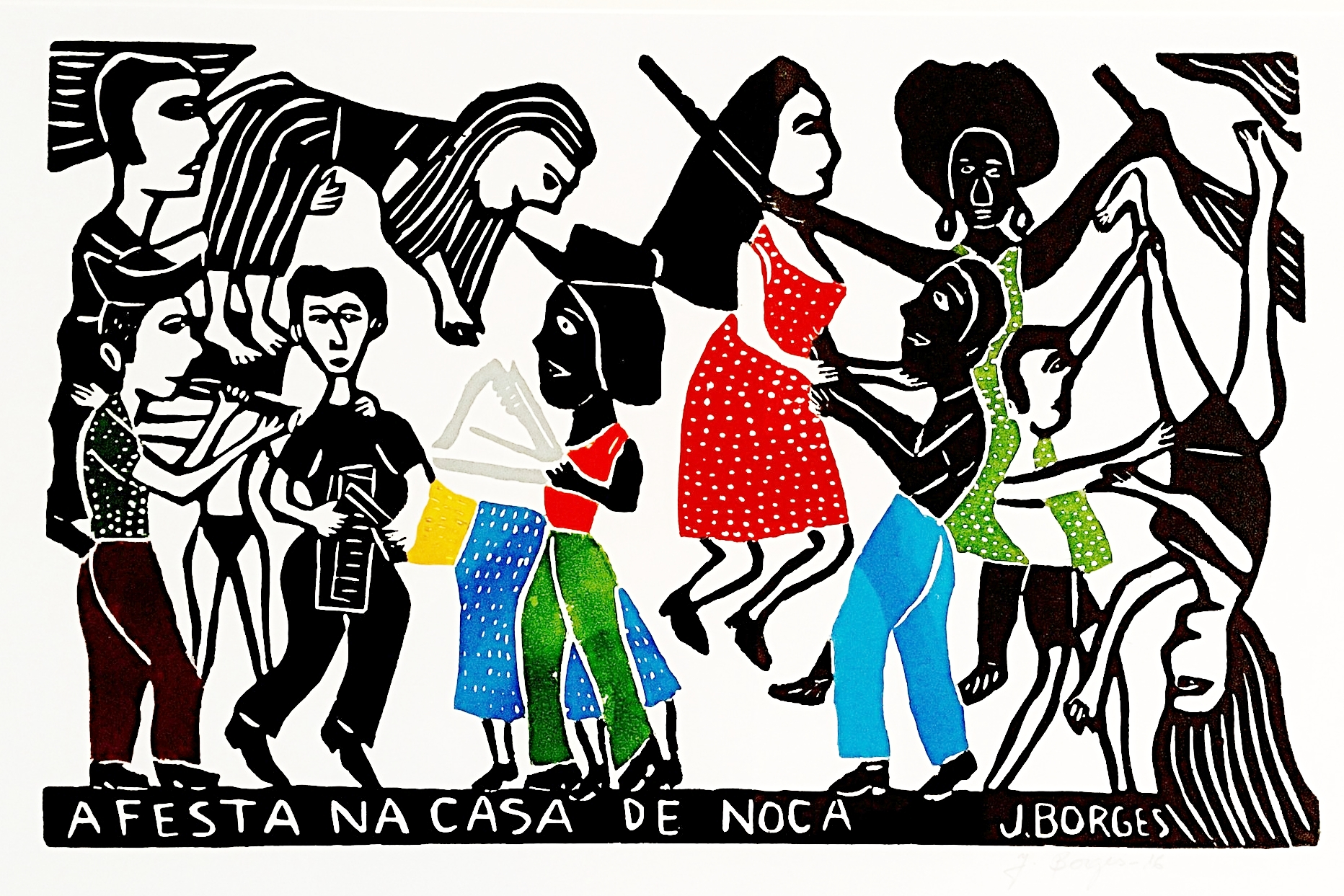 A Festa, woodcut print, paper, framed, J.Borges, Pernambuco, $ 450.00