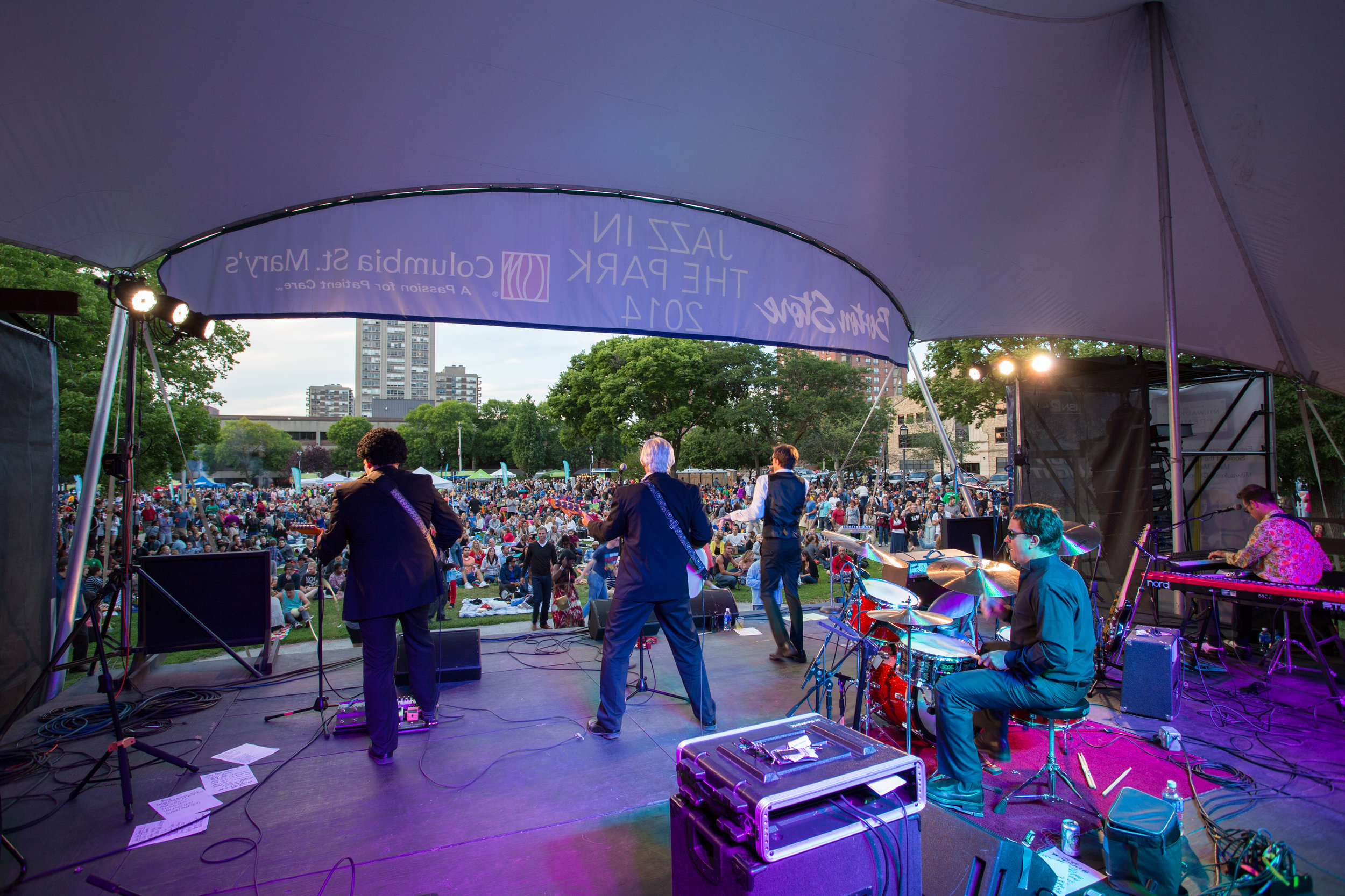 Jazz in the Park happens weekly throughout the summer in Cathedral Square
