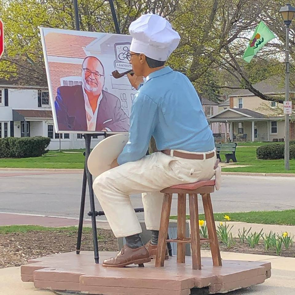 The Village of Greendale pays tribute to Joe Bartolotta with the statue of Norman Rockwell painting the iconic restaurant operator. Joe Bartolotta started Joey Gerard's - A Bartolotta Supper Club in the historic downtown Village of Greendale.