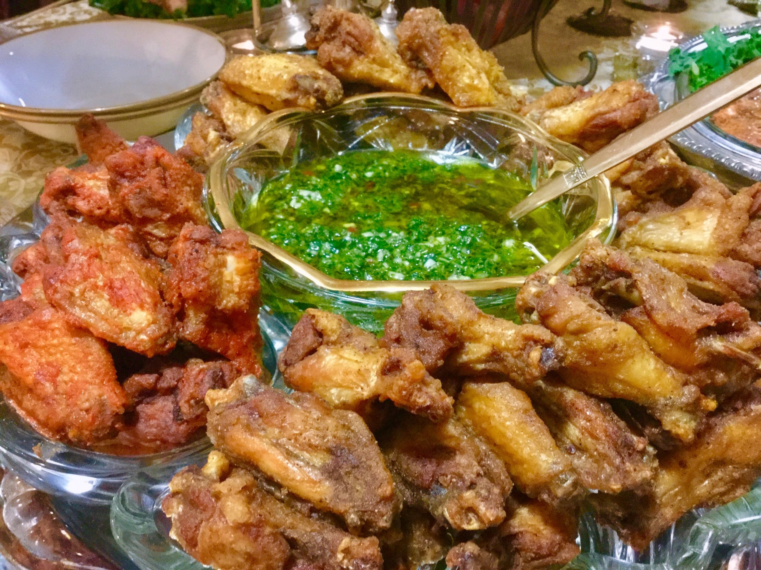 My guests could not stop talking about my home-made Chimichurri Sauce (that green stuff in the middle)