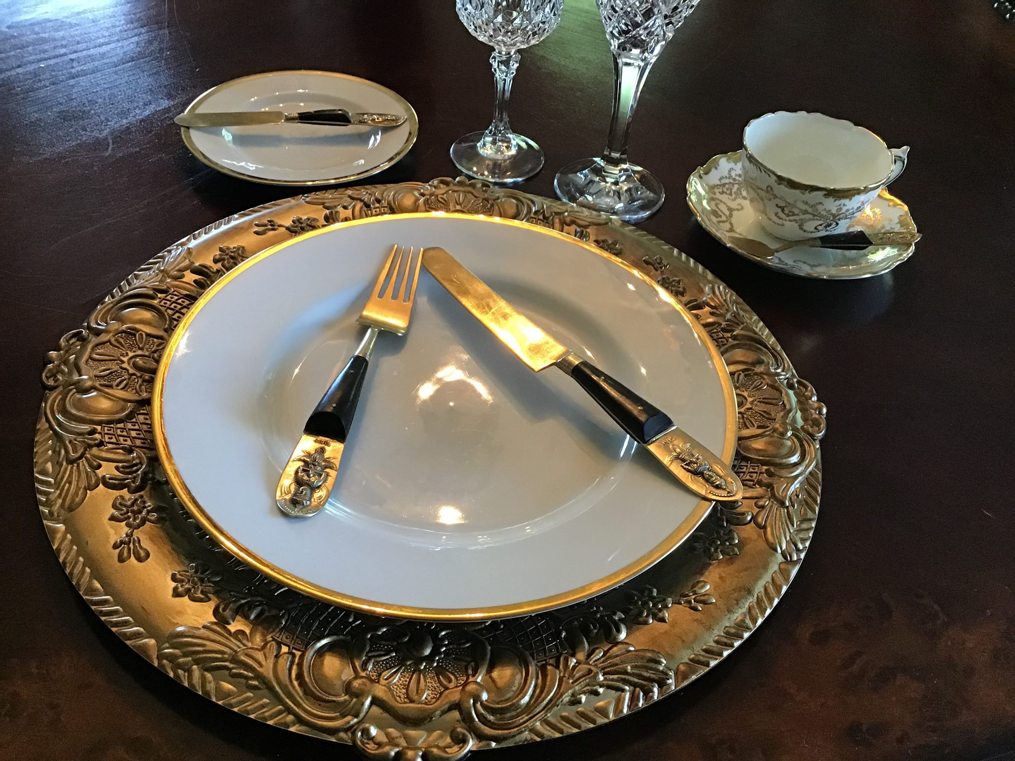"""Mariby Corpening's DID YOU KNOW: Table Etiquette No. 1 - By placement of utensils - """"I'M STILL EATING!"""" This, so I won't keep bugging you with, """"Are you finished!"""""""