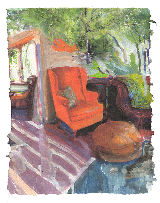 Dawn's Chair, 2015, Digital print on homegrown and homemade cotton paper, 18 x 24 inches