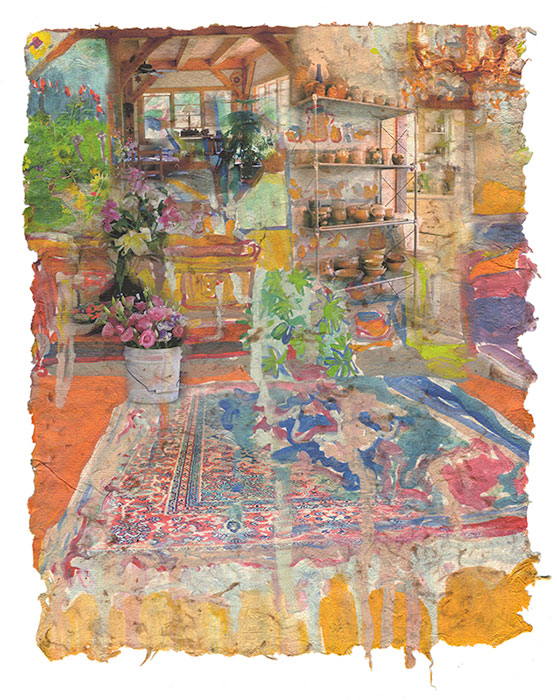 Dripping Rug, 2015, Digital print on homegrown and homemade cotton paper, 18 x 24 inches