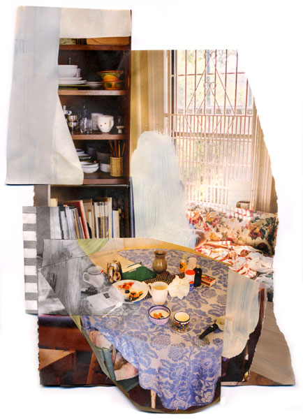 Set Table, 2009, Acrylic paint and magazine collage,7 1/2 x 11 inches