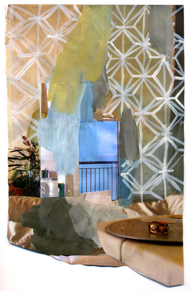 Beach House, 2009, Acrylic paint and magazine collage, 6 1/4 x 10 1/2 inches