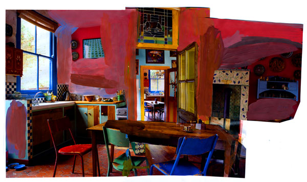 At Home, 2009, Acrylic paint and magazine collage, 19 x 11 inches