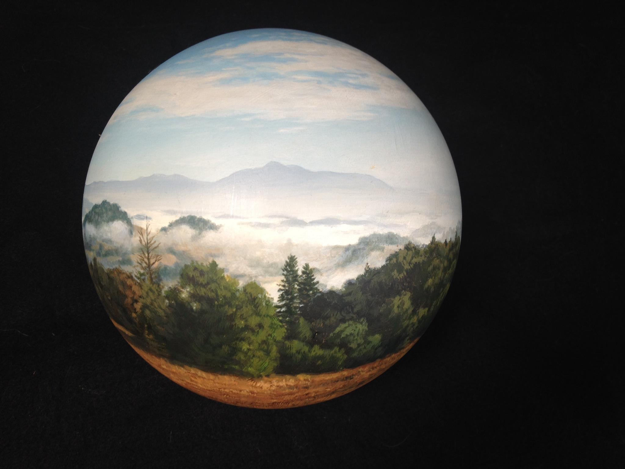 "Christopher Evans, Mountain in the Distance 8"" Panosphere Acrylic on Acrylic, 1999"