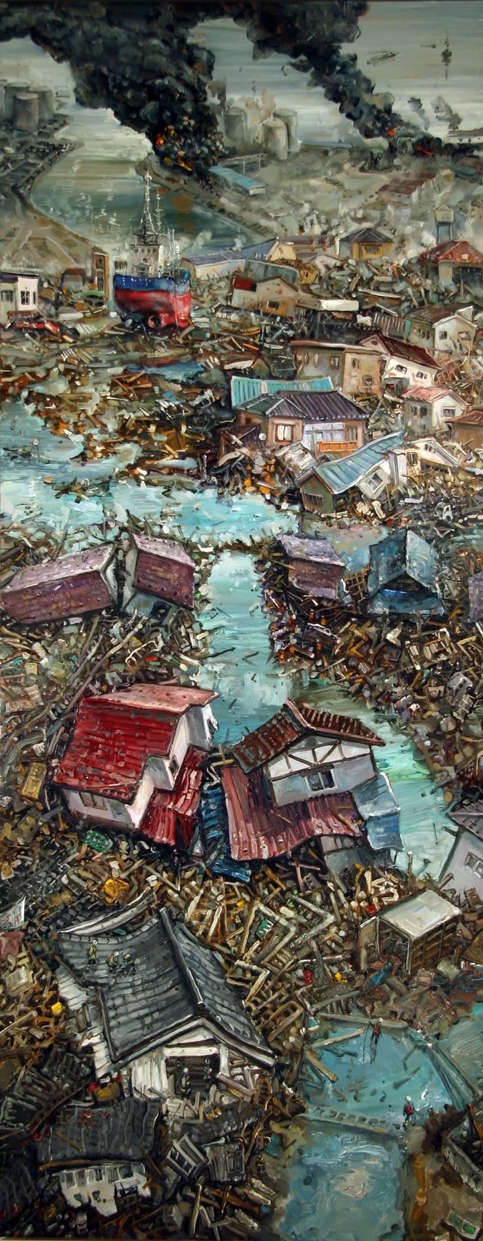 "Amer Kobaslija, Black Smoke Raising Over Kesennuma, oil on panel, 29 ½"" x 12"", 2011"