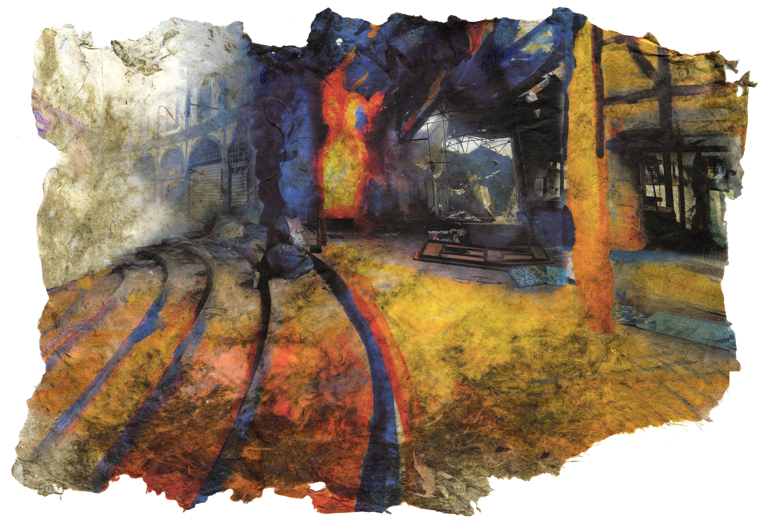 Convention Fire, 2017, Pigment print on handmade paper (cotton, daylily, hosta, bamboo, and yucca), 15 1/2 x 21 inches